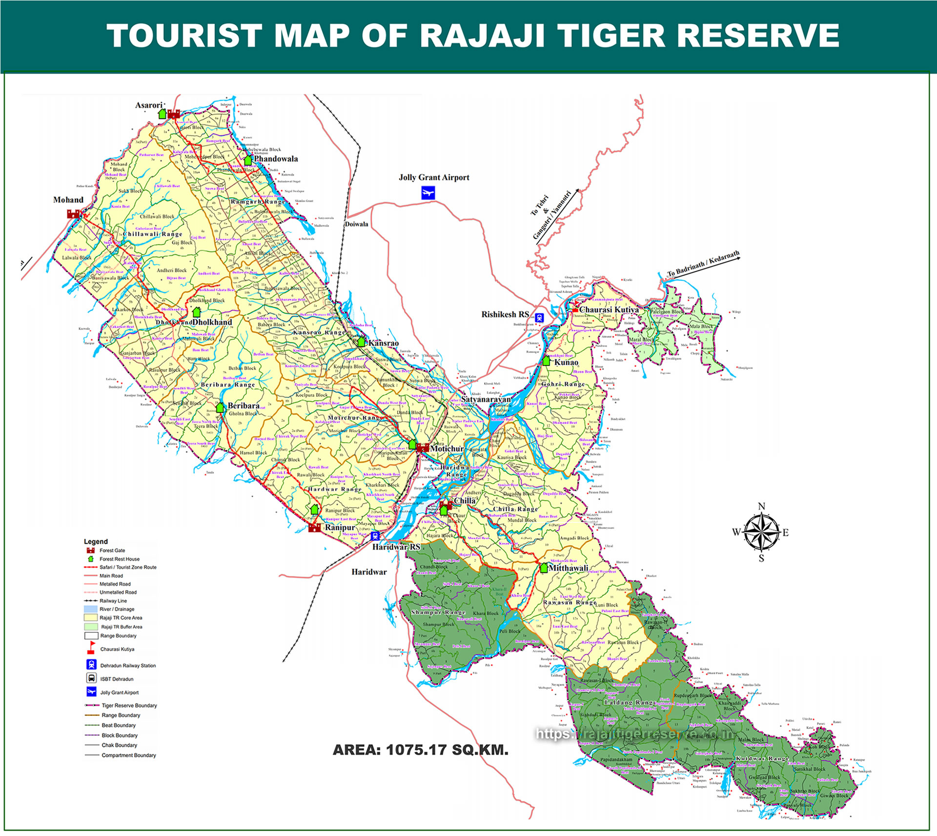 Map of Rajaji National Park